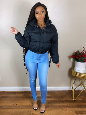 Hooded Cropped Puffer Jacket