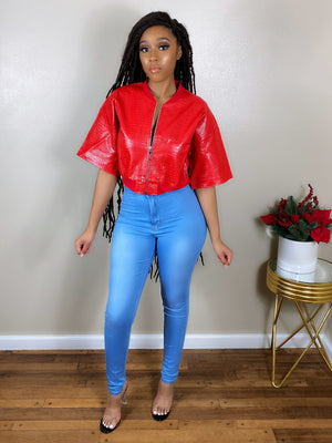 Red Leather Crop | Top