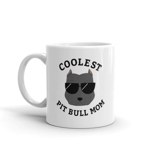 Coolest Gray Pit Bull Mom Coffee and Tea White Glossy Mug for Dog Mothers