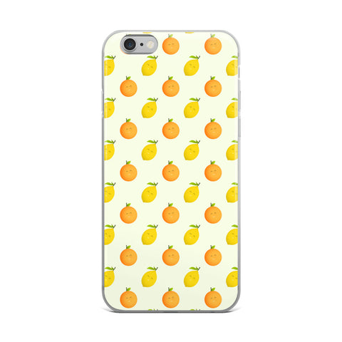Happy Oranges and Lemons Cute Kawaii iPhone Case