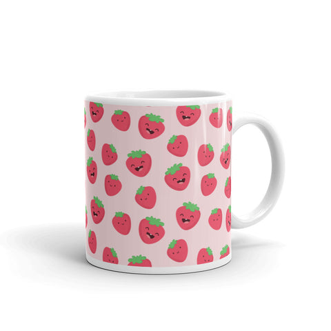 Happy Strawberries Kawaii White Glossy Mug