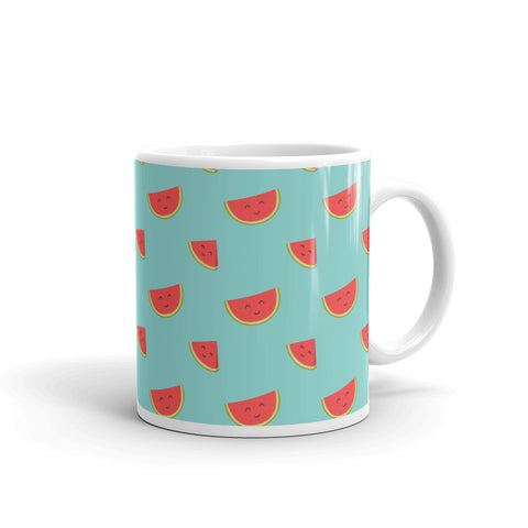 Happy Watermelons Kawaii White Glossy Mug
