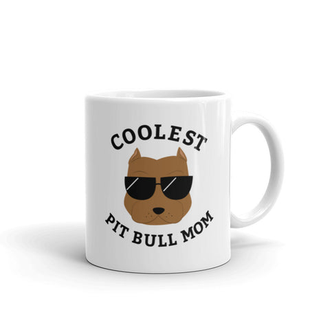 Coolest Brown Pit Bull Mom Coffee and Tea White Glossy Mug for Dog Mothers