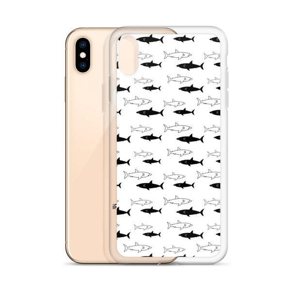 Black and White Sharks Pattern iPhone Case