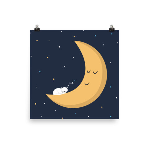 The Cat And The Moon Art Print