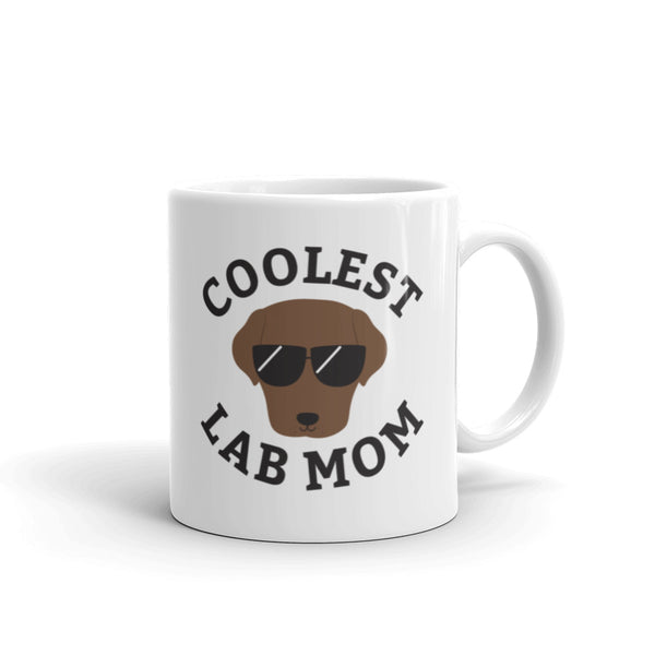 Coolest Chocolate Lab Mom Coffee and Tea White Glossy Mug for Labrador Dog Mothers
