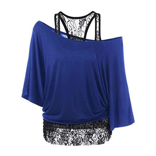 Women's Lace Collar Bat Sleeve T-shirt