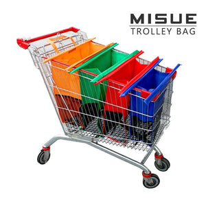 Misue Shopping Cart Trolley Bags -4 Reusable Grocery Bags