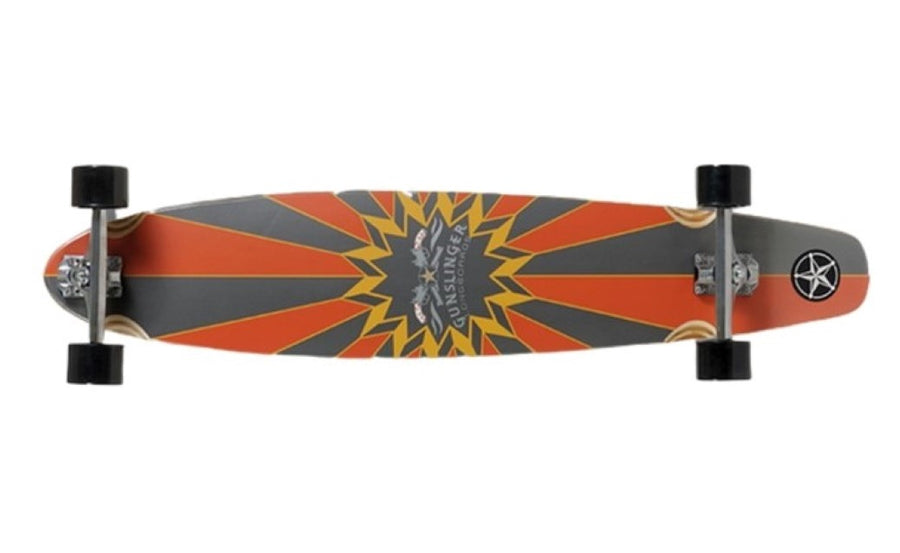 44 Kicktail Orange - Deck Only- Gunslinger Longboard Skateboards Australia