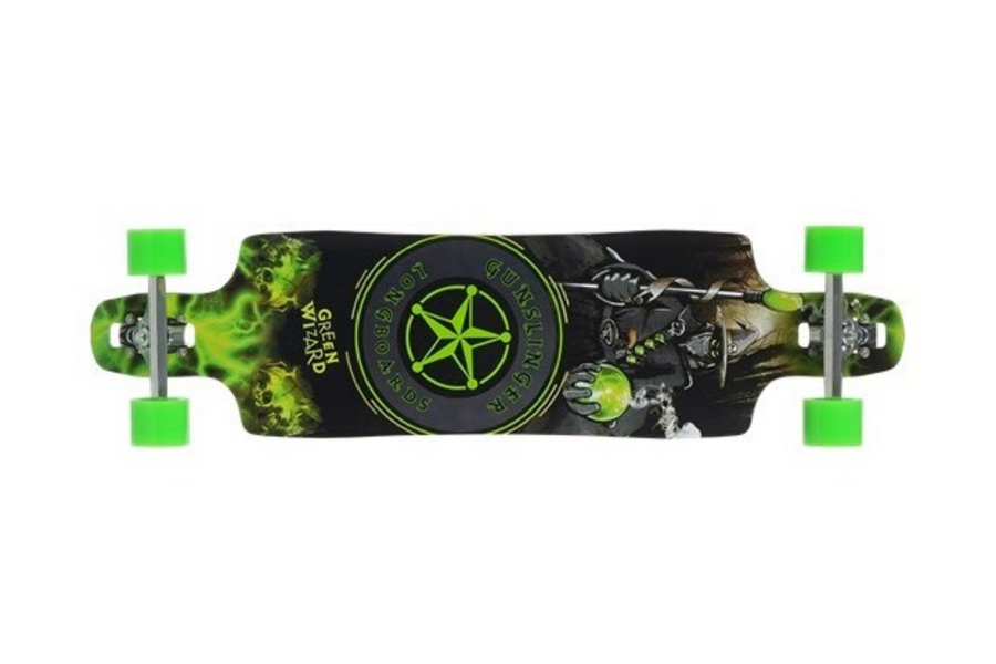 "Green Wizard Deck Only - 39""/ 1010mm - Maple - Drop-Thru - Freeride - Gunslinger Longboard Skateboards Australia"