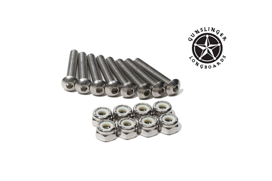 8 Piece Hardware Set : Stainless Steel 304 - Gunslinger Longboards Skateboards Australia