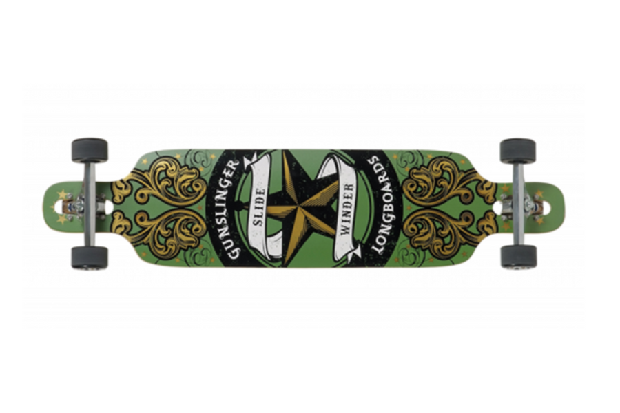 "Slidewinder Green - 40""/ 1016mm Bamboo Drop-Thru Freeride - Gunslinger Longboard Skateboards Australia"