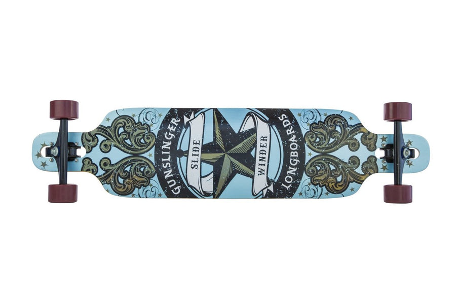 "Slidewinder Blue -  40""/ 1016mm Bamboo Drop-Thru Freeride  - Gunslinger Longboard Skateboards Australia"