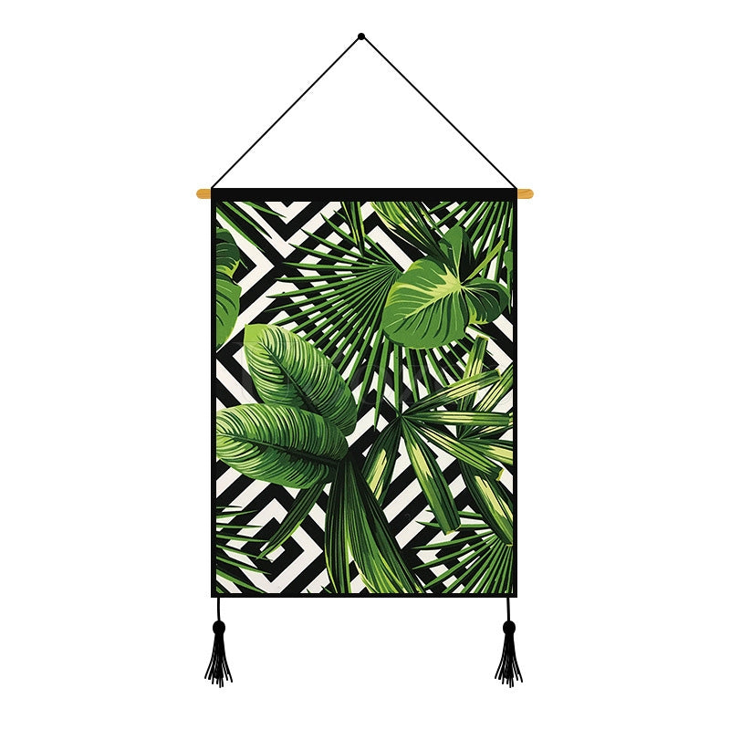 Modern Green Plants & Geometry Printed Wall Hanging Decoration