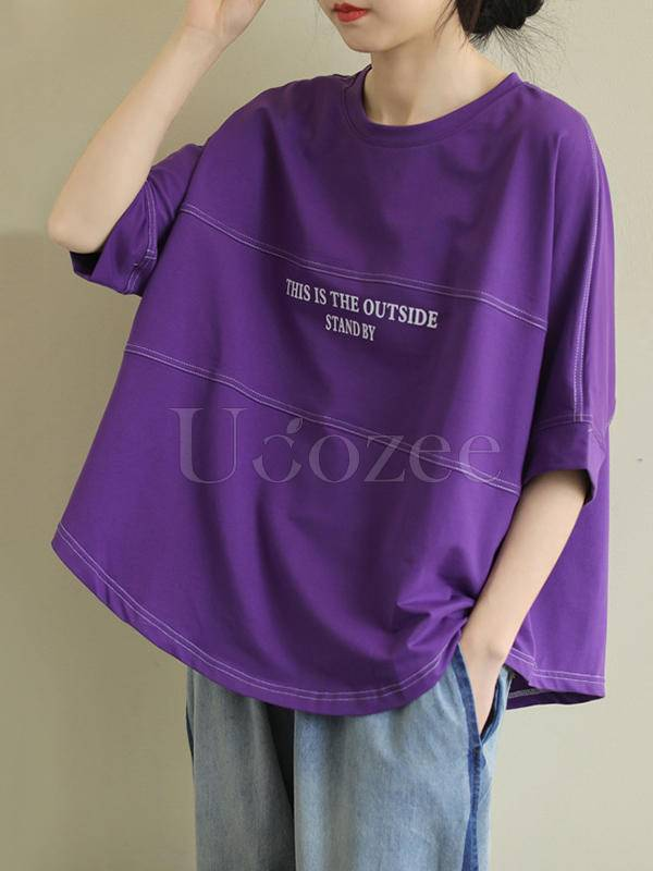 Plus Size Loose Solid Letter Print T-Shirt