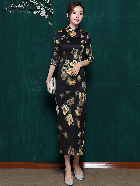 Mulberry Silk Black Floral Split-side Stand-collar Long Cheongsam