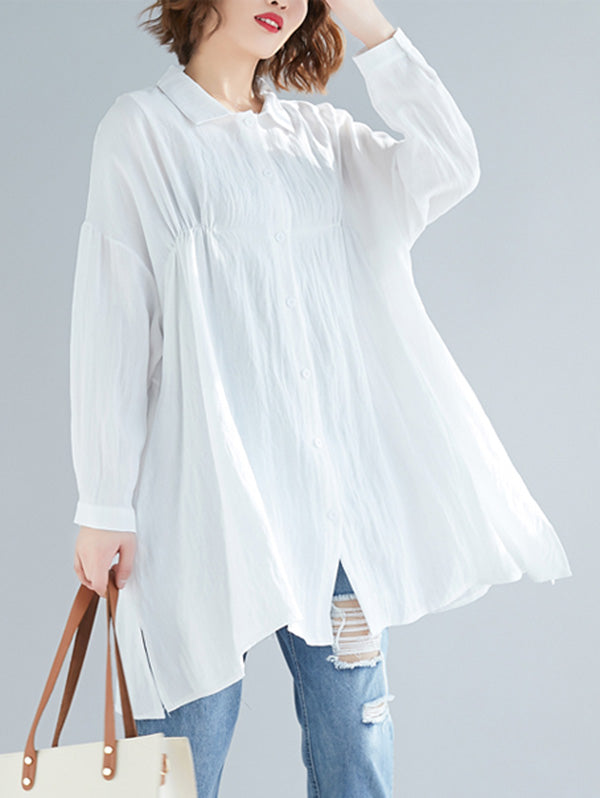 Loose Pure Color Shirt Blouse