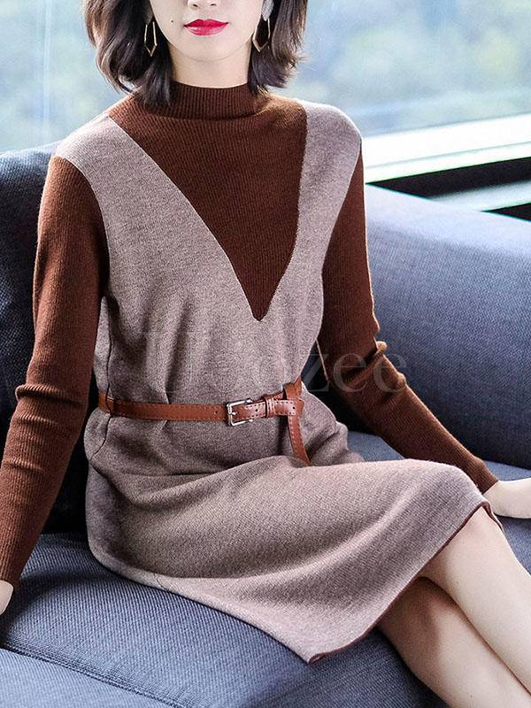 Casual Collect Waist False Two Knitting Dress