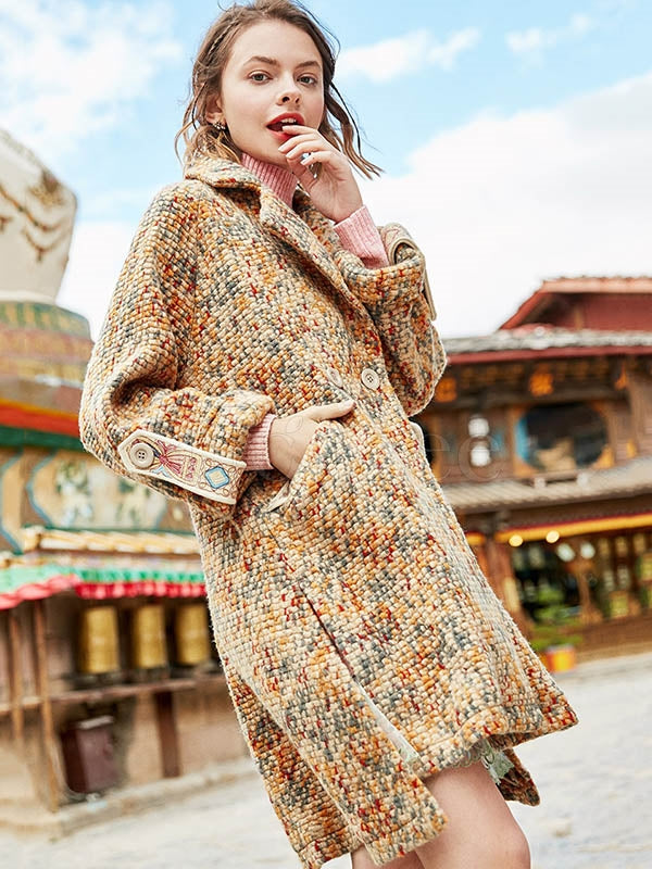 Liebo Lapel Colorful Asymmetric Wool Coat