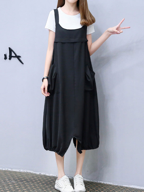 Loose Oversize White T-Shirt + Split-front Braces Dress
