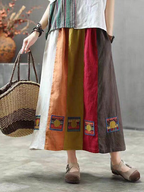 Retro Split-joint Linen Skirt