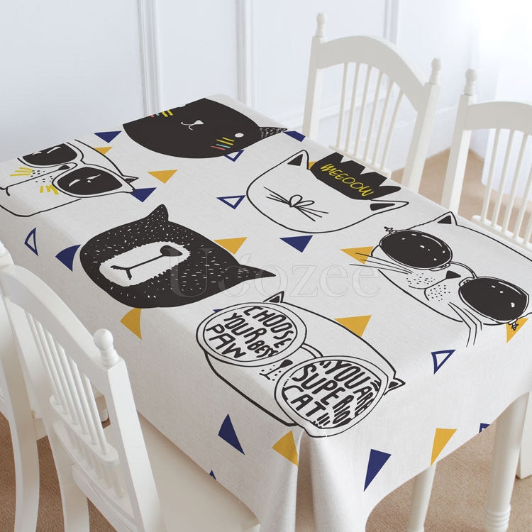 White Cat Casual Printed Tablecloth