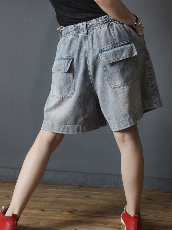 Retro Casual Ripped Shorts