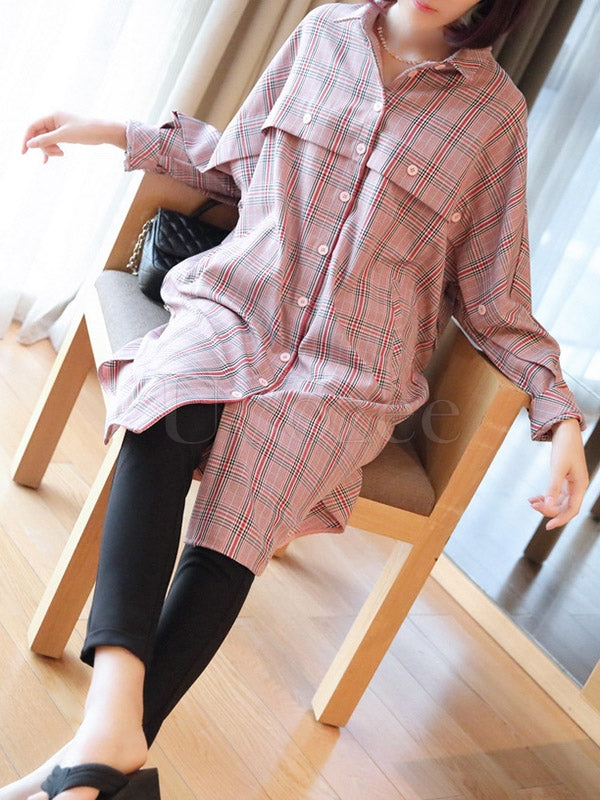 Loose Plaid Split-Joint Long Shirts