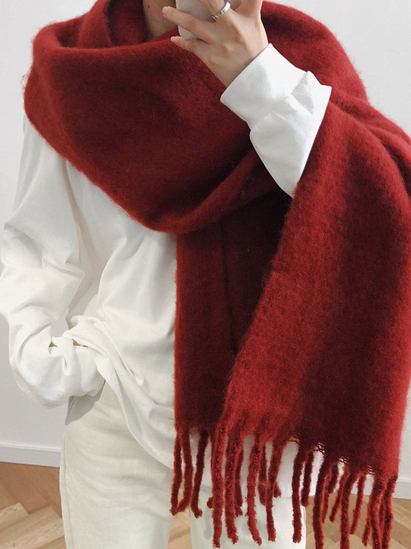 Warm Mohair Thicken Big Neckerchief Shawl