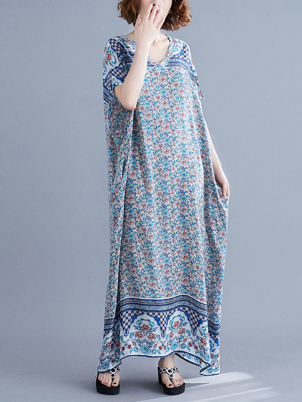 New Printed Batwing Sleeve Maxi Dress