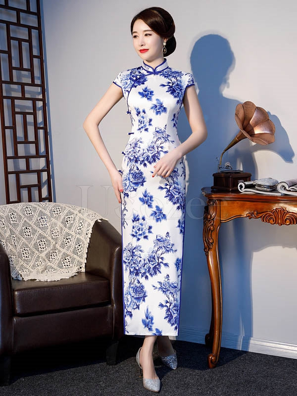 Floral Printed Improved Long Cheongsams