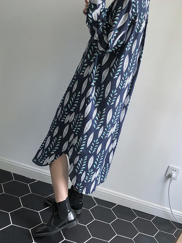 V-neck Leaf Pattern Loose Printed Midi Dresses