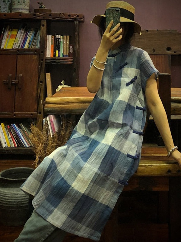 Original Designed Plaid Button Dress