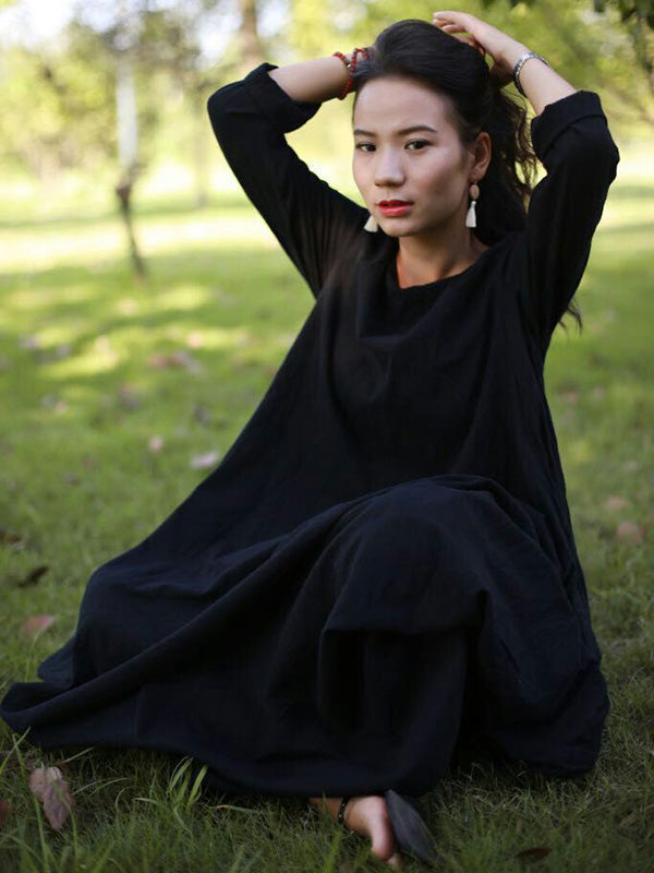 Super Loose Literary Cotton Irregular Long Dress