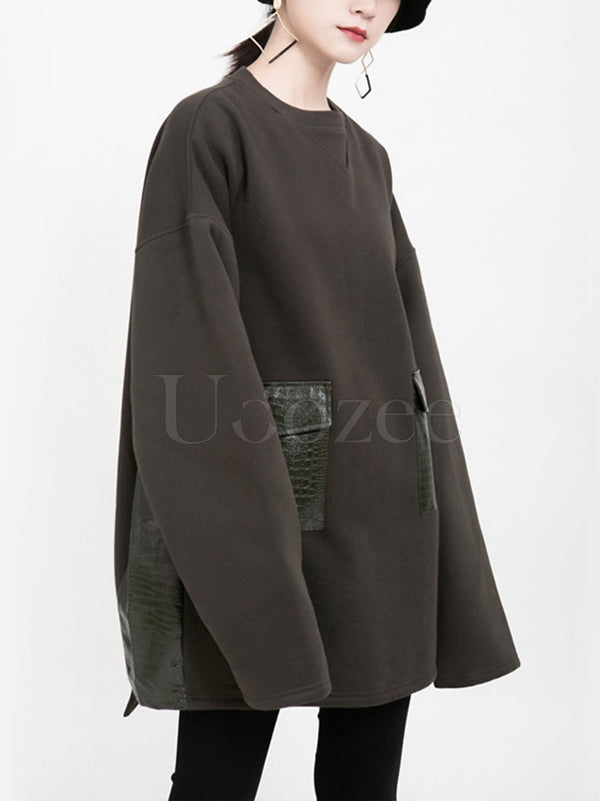 Loose Pocket Stitching Velvet Sweatshirt