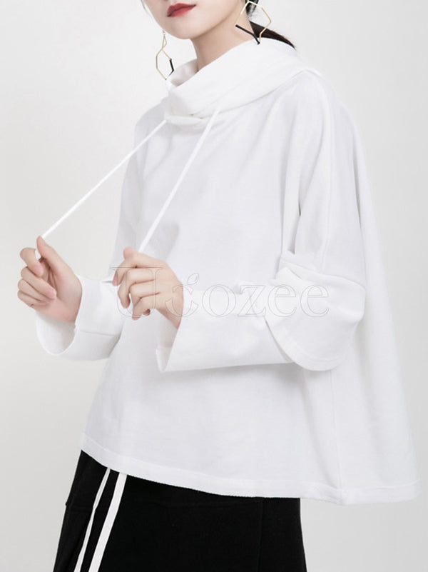 Loose Casual Solid Splicing Hoodie