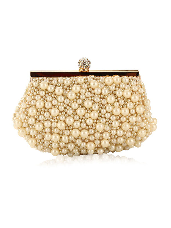 White&Apricot Beads Cheongsam bag Handbag
