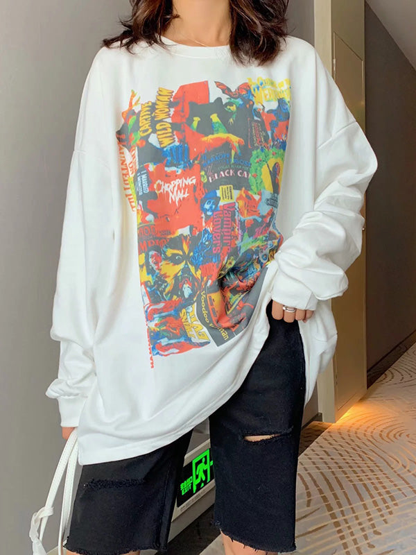 Loose Colorful Painting Graffiti Sweatshirt