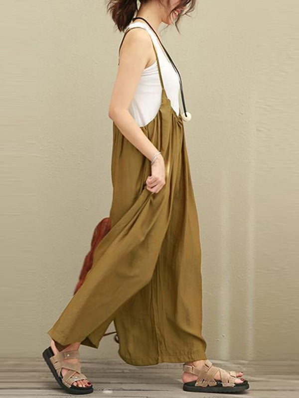 Loose Wide-leg Cotton Jumpsuit