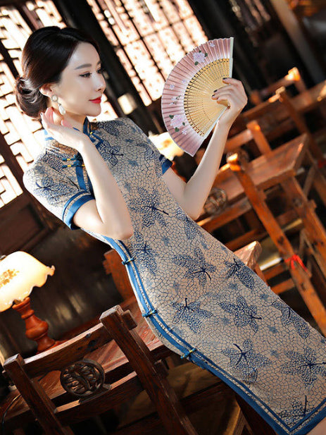 Blue Leaves Print Side Split Long Cheongsam