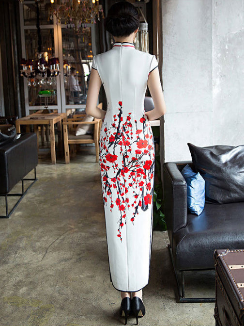 Plum Blossom Long Cheongsam Dress