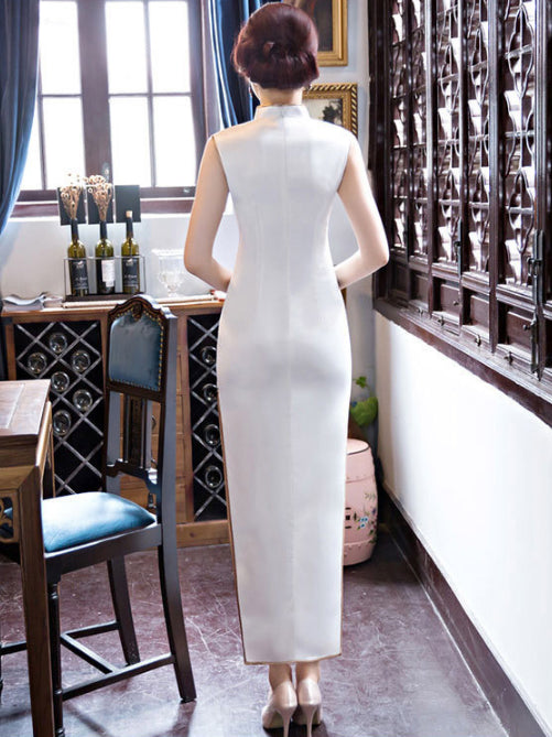 White Lotus Print Long Cheongsam Dress