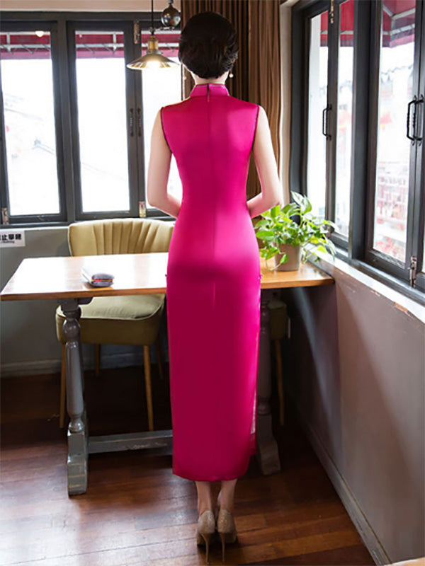 Yellow&Fuschia Hollow Embroidered Stand-collar Long Cheongsam