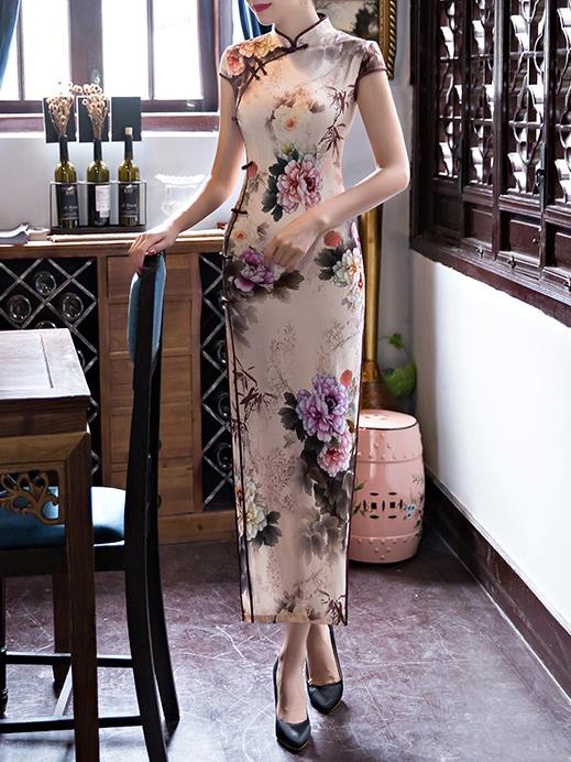 Floral Print Side Split Long Cheongsams