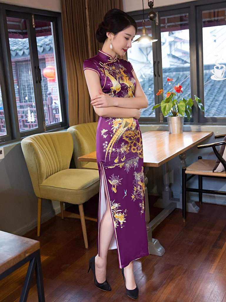 Purple Embroidery Side Split Long Cheongsam Dress