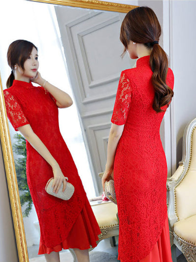 Red Lace Mermaid Stand-collar Long Cheongsam