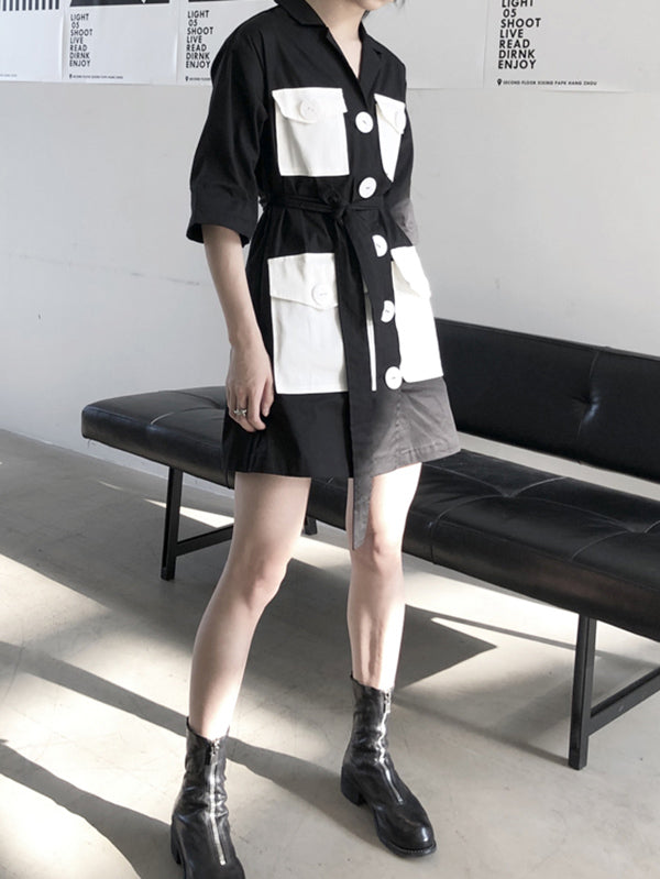 Split-joint Lapel Big Pocket Shirt Dress