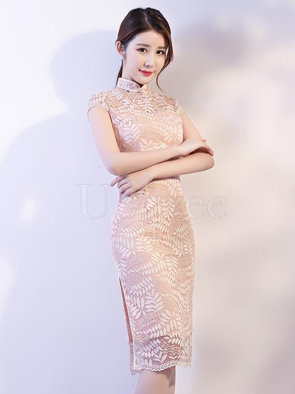 Apricot Lace See-through Split-side Short Cheongsam