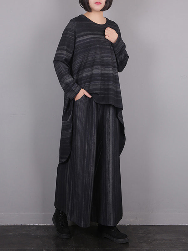 Loose Comfortable Cotton Stripe Suits