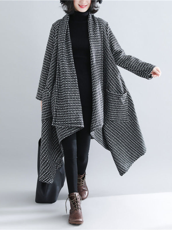 Loose Plus Size Plaid Knitted Outwear